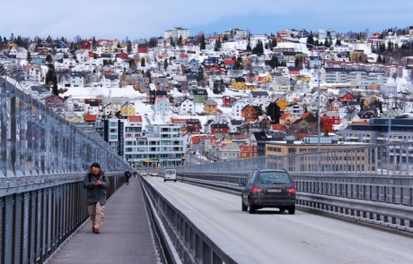 Snow covered roofs in Tromso