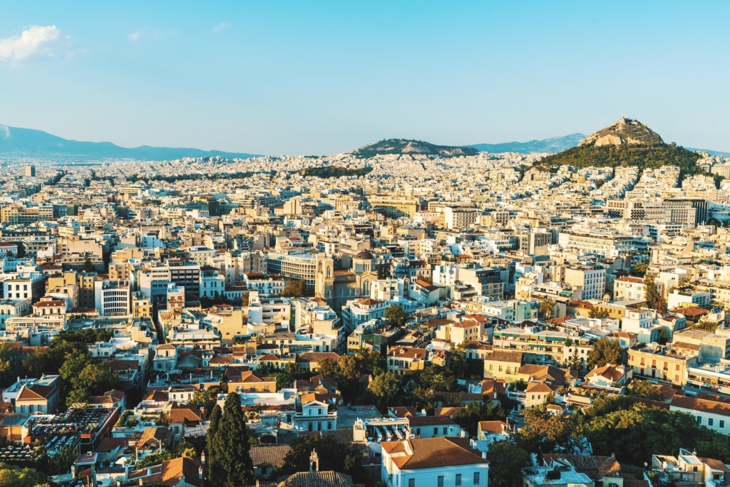 Aerial view over Athens