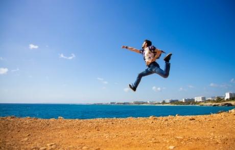 Man Jumping on Beach in Ayia Napa