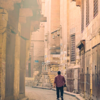Man walking through the streets of Cairo