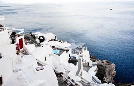 Santorini's famous white buildings
