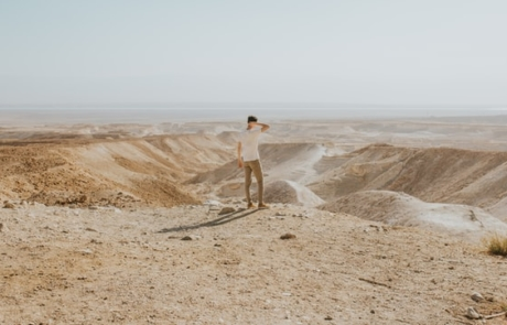 Guy standing in open land in Masada