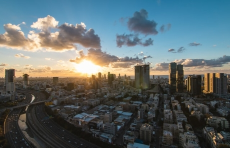 Sun setting in Tel Aviv