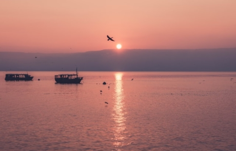 Boats on the water of the Sea of Galilee