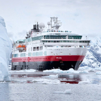 Hurtigruten ship in Antarctica