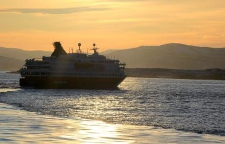 Hurtigruten vessel in the ocean