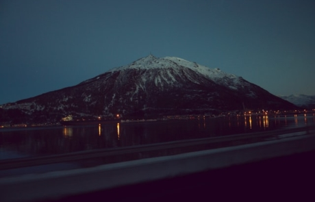 Snow capped mountain in Narvik