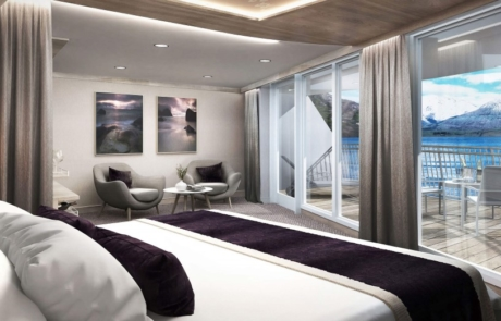 Balcony suite bedroom on MS Maud