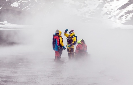 Expedition team in foggy Antarctica