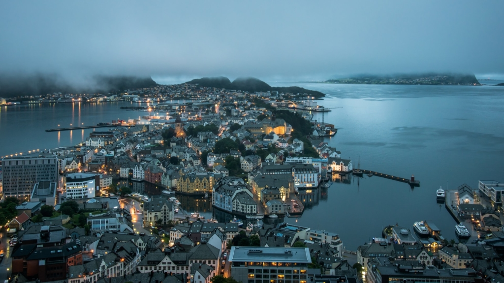 Aerial view of Alesund in the evening