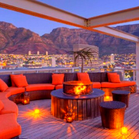 Outdoor deck sitting area with Table Mountain in the backdrop
