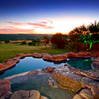 Outdoor area with a water feature
