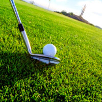 Golf iron behind a ball