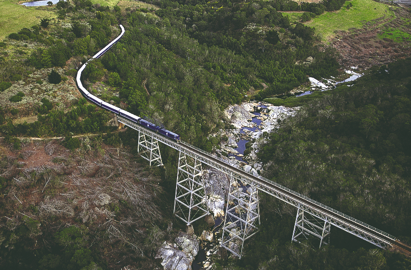 Aerial view of a train on train tracks