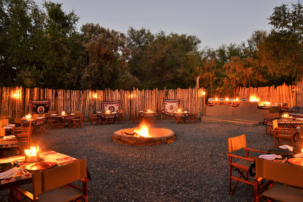 Boma area with dinner tables
