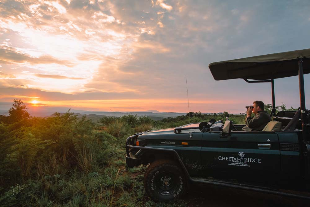 Safari vehicle parked with a sunset backdrop
