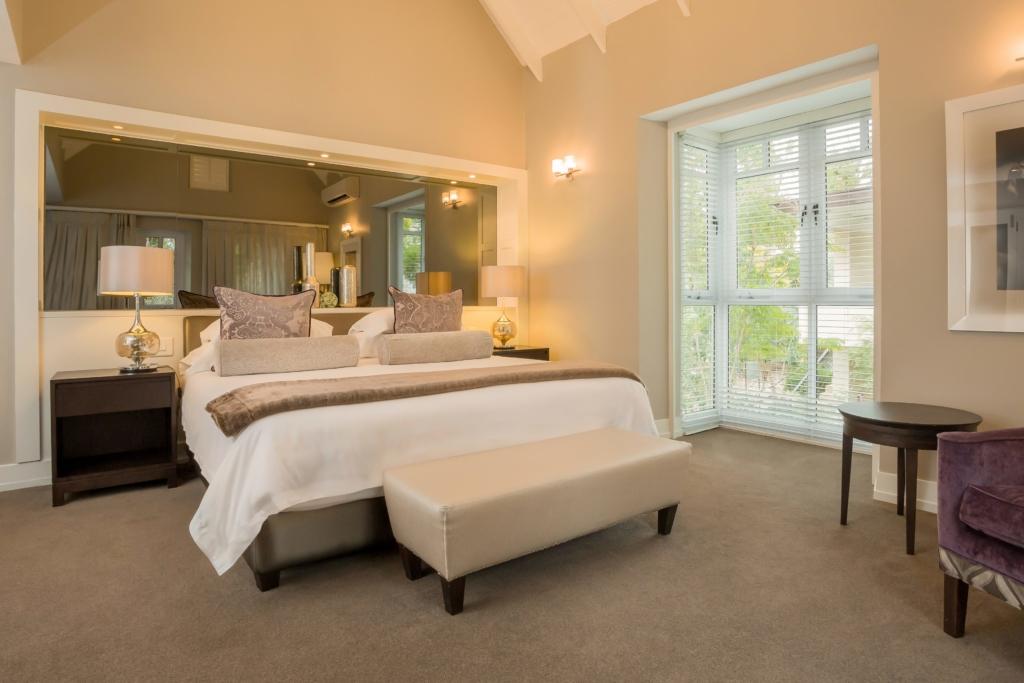 Bedroom with a galss door