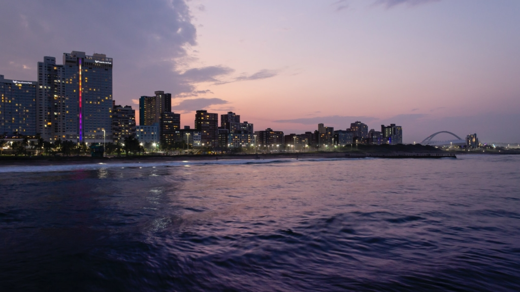 Durban city skyline view from the ocean