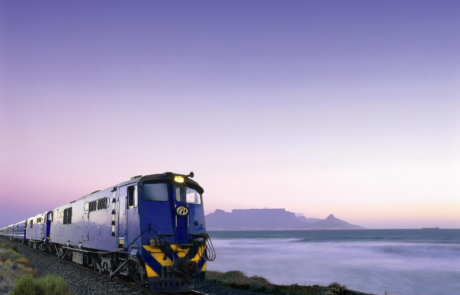 Blue Train with Table Mountian in the Background