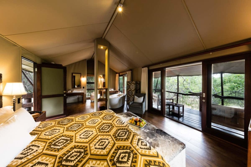Inside view of a bed and luxury tent
