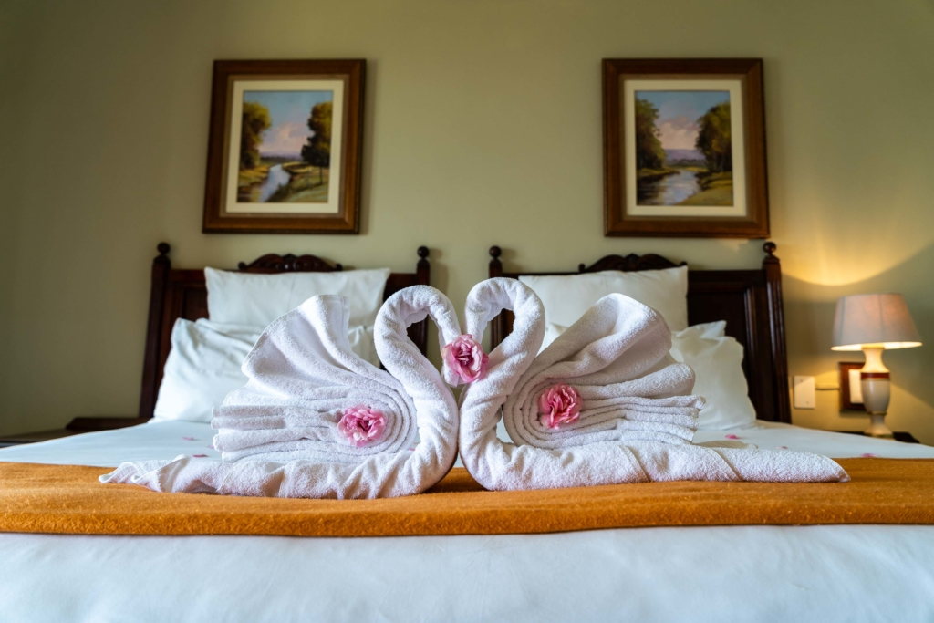 Towel Swans on a bed