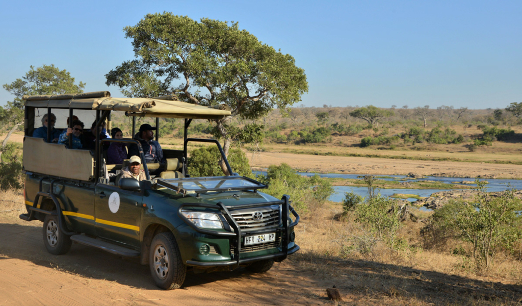 Open safari vehicle parked in a game reserve