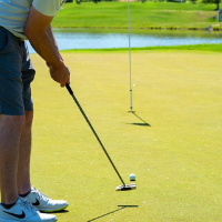 A man putting the ball on a green