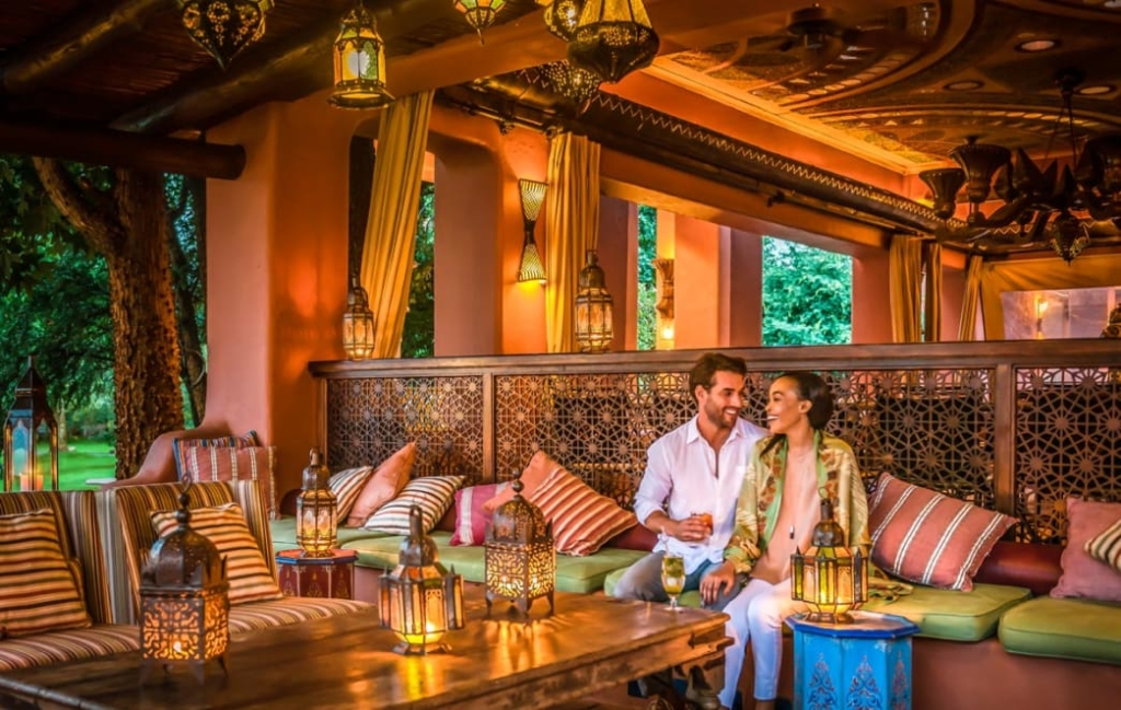 Couple sitting at a food lounge