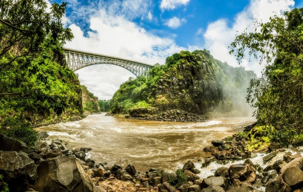 Pano view of a bridge high over a river