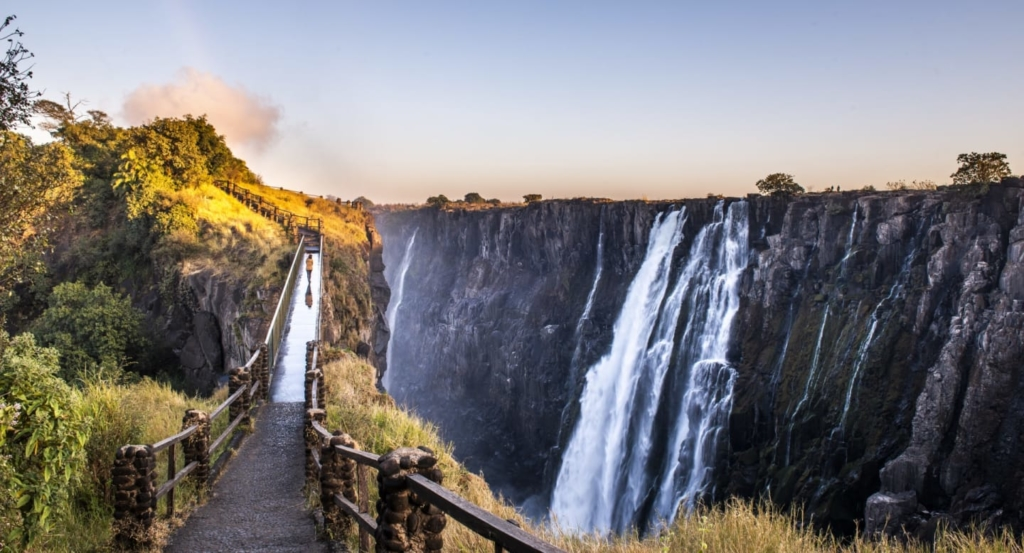 walking along Victoria Falls